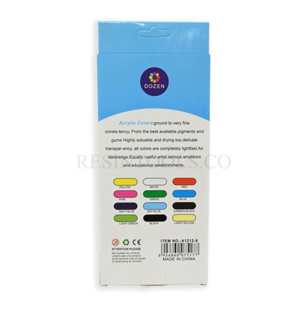 12 Acrylic Colors back - Resintools.co